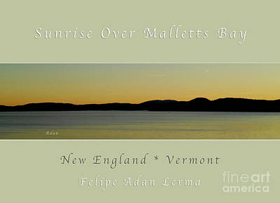 Sunrise Over Malletts Bay Greeting Card And Poster - Six V4 Art Print