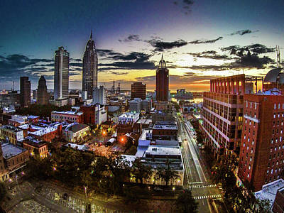 Photograph - Sunrise Over Mobile And Government Street by Michael Thomas