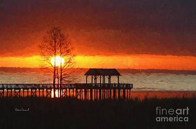 Walkway Mixed Media - Sunrise Over Mobile Bay, Alabama by Garland Johnson