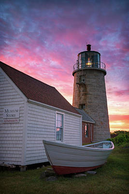 Photograph - Sunrise Over Monhegan Lighthouse by Darylann Leonard Photography