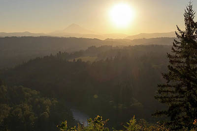 Sunrise Over Mount Hood And Sandy River Art Print by David Gn