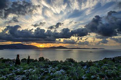 Photograph - Sunrise Over Mountains Near Sea by Radoslav Nedelchev