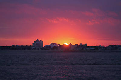 Photograph - Sunrise Over Ocean City Skyline by Robert Banach