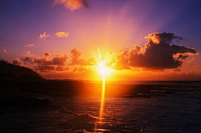 Sunrise Over Ocean, Sandy Beach Park Art Print by Panoramic Images