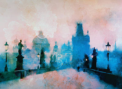 Painting - Sunrise Over Prague by Rosalina Atanasova