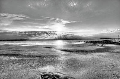 Photograph - Sunrise Over Red Rock Park Lynn Ma Kings Beach Black And White by Toby McGuire
