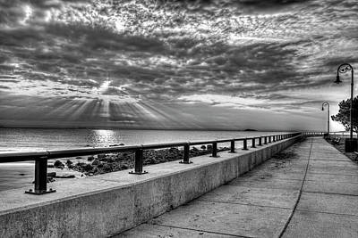 Photograph - Sunrise Over Red Rock Park Lynn Ma Path Black And White by Toby McGuire