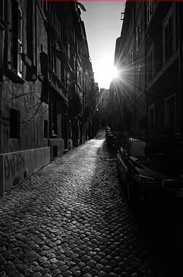 Photograph - Sunrise Over Roman Cobblestone Street Urban Cityscape Black And White by Shawn O'Brien