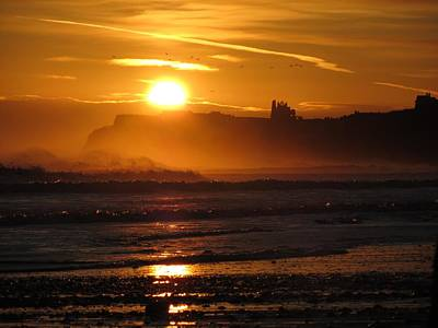 Sunrise Over Sandsend Beach Art Print by RKAB Works