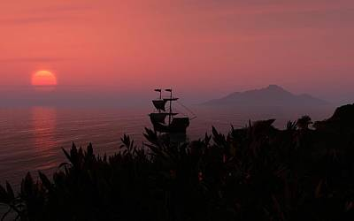 Digital Art - Sunrise Over Ship by David Lane