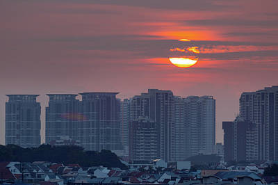 Photograph - Sunrise Over Singapore Residential Neighborhood by David Gn