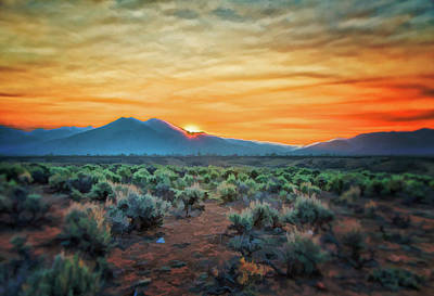 Digital Art - Sunrise Over Taos II by Charles Muhle