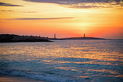 Photograph - Sunrise Over Thacher Island From Long Beach In Gloucester Ma Golden Sunrise by Toby McGuire