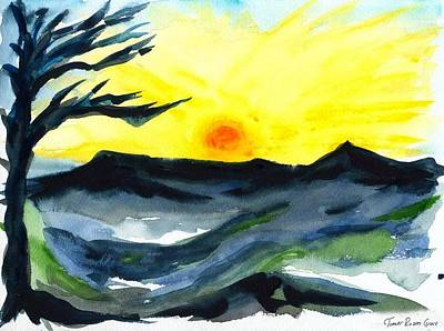 Water Color Painting - Sunrise Over The Alps by Tomer Rosen Grace