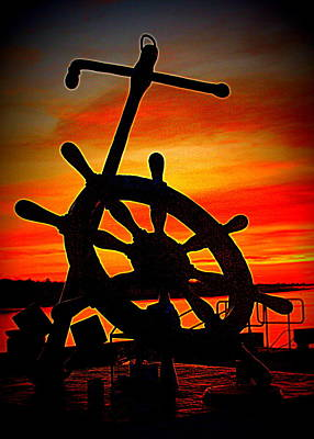Photograph - Sunrise Over The Captain's Wheel 2 by Suzanne DeGeorge