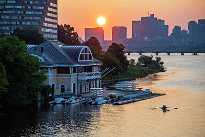 Photograph - Sunrise Over The Dewolfe Boathouse In Cambridge Ma Charles River by Toby McGuire