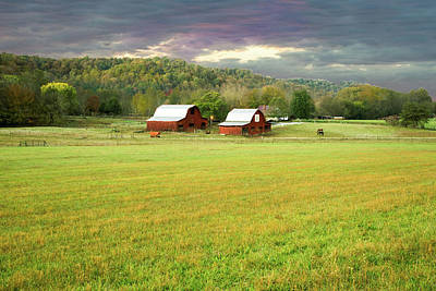 Photograph - Sunrise Over The Farm And Mountains by Douglas Barnett