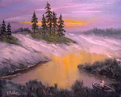 Sunrise Over Water Painting - Sunrise Over The Lake by Politov Valeryi