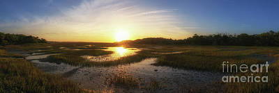Surrealism Royalty Free Images - Sunrise Over The Marsh Pano Royalty-Free Image by Michael Ver Sprill