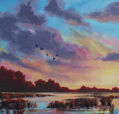 Painting - Sunrise Over The Marsh by Sarah Grangier