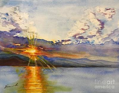 Wall Art - Painting - Sunrise Over The Med by Sonia Mocnik