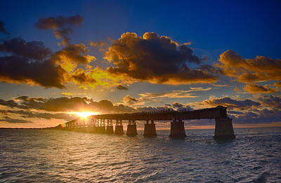 Florida Keys Train Railroad Photograph - Sunrise Over The Old Rail Bridge At Bahia Honda by Scott Bert