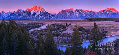 Photograph - Sunrise Over The Teton Mountain Range by Adam Jewell