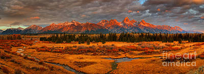 Photograph - Sunrise Over The Teton Wetlands Panorama by Adam Jewell