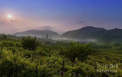 Prosecco  - Sunrise Over The Wine Fields At Guia, Valdobbiadene, Treviso, Veneto, Italy by Kim Petersen