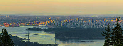 Photograph - Sunrise Over Vancouver Bc And Stanley Park Panorama by David Gn