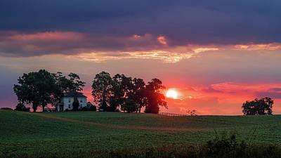 Photograph - Sunrise Over Virginia Farm by Lori Coleman