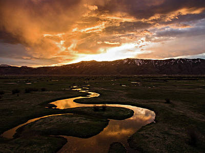 Photograph - Sunrise Over Winding River by Wesley Aston