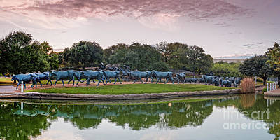 Dallas Skyline Photograph - Sunrise Panorama Of Cattle Drive Sculpture At Pioneer Plaza - Downtown Dallas North Texas by Silvio Ligutti