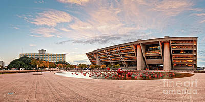 Sunrise Panorama Of Downtown Dallas City Hall And Park Plaza Reflection Pool - North Texas Art Print by Silvio Ligutti