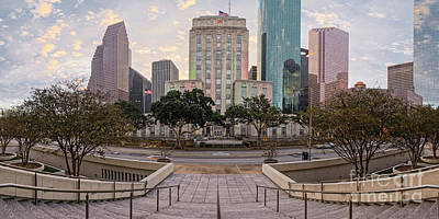 Photograph - Sunrise Panorama Of Downtown Houston And City Hall - Bagby Street Houston Texas Harris County by Silvio Ligutti
