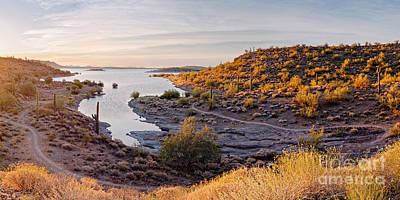 Photograph - Sunrise Panorama Of Lake Pleasant In Peoria Arizona by Silvio Ligutti