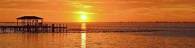 Photograph - Sunrise Panoramic Over Santa Rosa Sound With Migratory Ducks by Jeff at JSJ Photography