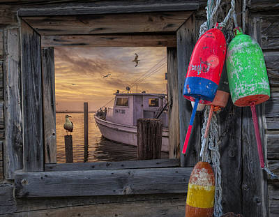 Randall Nyhof Royalty Free Images - Sunrise Photograph of Boat with Gulls and Fishing Buoys Royalty-Free Image by Randall Nyhof