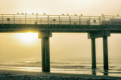 Print featuring the photograph Sunrise Pier In Alabama  by John McGraw