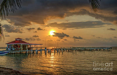 Photograph - Sunrise Pier Over Water by David Zanzinger
