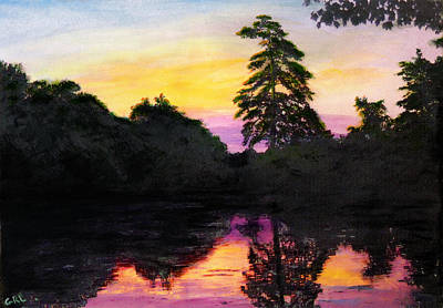 Art Print featuring the painting Sunrise Pond Maryland Landscape Original Fine Art Painting by G Linsenmayer