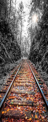 Photograph - Sunrise Rails Art Vertical Panorama by Debra and Dave Vanderlaan