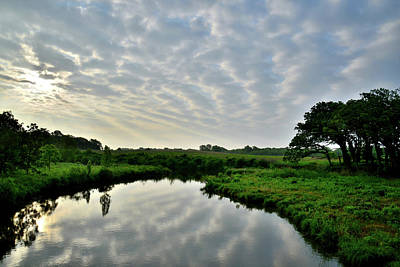 Photograph - Sunrise Reflection Of Clouds In Nippersink Creek by Ray Mathis