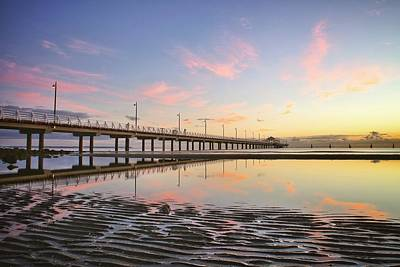 Sunrise Reflections At The Shorncliffe Pier Art Print