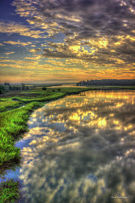 Photograph - Sunrise Reflections On Turners Creek Savannah Tybee Island Art by Reid Callaway