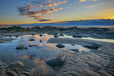 Coastal Maine Photograph - Sunrise Reflections On Wells Beach by Rick Berk
