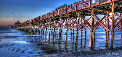 Photograph - Sunrise Glow Folly Beach Pier Charleston South Carolina by Reid Callaway