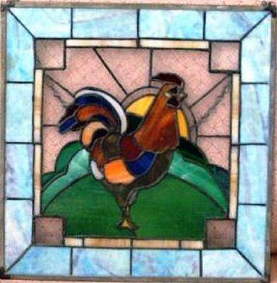 Glass Art - Sunrise Rooster by Liz Lowder
