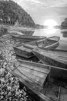Photograph - Sunrise Rowboats  In Black And White by Debra and Dave Vanderlaan