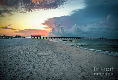 Photograph - Sunrise Seascape Gulf Shores Al Pier 064a by Ricardos Creations